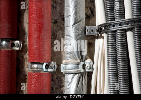 Insulated heating pipes, cable harnesses, renovation of an old building, Stuttgart, Baden-Wuerttemberg - Stock Photo