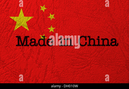 Made in China text on flag - Stock Photo