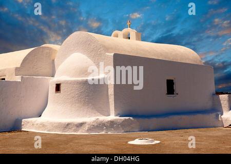 White Orthodox chapel in Oia, Ia, Santorini, Cyclades Islands, Greece, Europe - Stock Photo