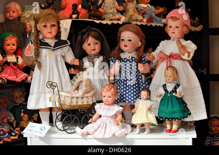 Old dolls from the Schildkroet factory in the shop Buedinger Puppenhaus, Büdingen, Hesse, Germany - Stock Photo