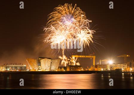 Titanic Fireworks, Belfast - Stock Photo