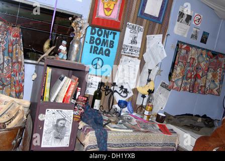 Interior of Faslane Peace Camp protester's caravan - Stock Photo