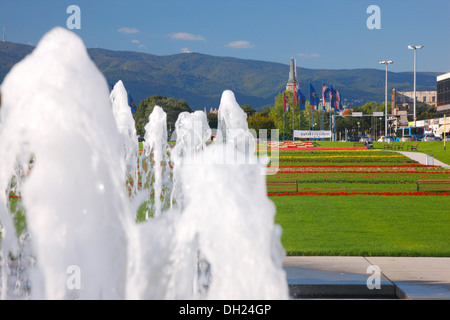 Zagreb, new fountain in Hrvatske Bratske Zajednice street - Stock Photo