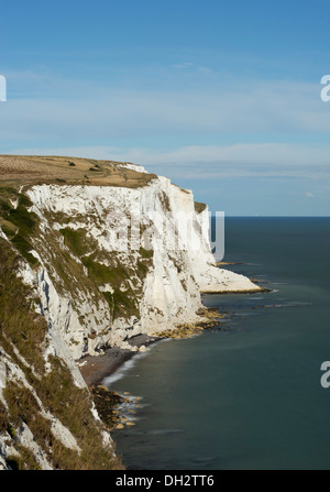 The White Cliffs of Dover; the view from above the port looking East towards Langdon Bay and Crab Bay. - Stock Photo