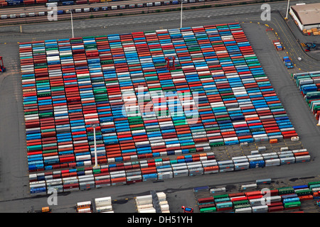 Aerial view, containers, Burchardkai container-terminal in the Port of Hamburg on the Elbe river, Hamburg - Stock Photo