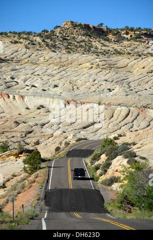 U.S. Highway 12 leading through the 'Devil's Backbone', Grand Staircase-Escalante National Monument, GSENM, Utah - Stock Photo