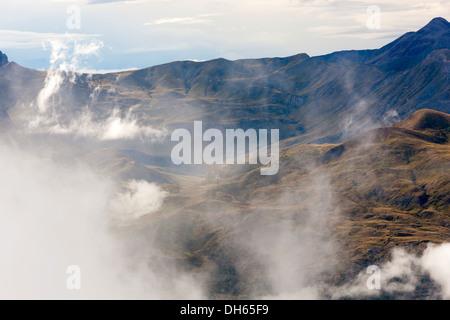 View from the ski area Panticosa over Valle de Tena, Puntal de los petros, Sierra de Tendeñera. - Stock Photo
