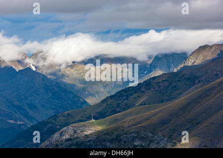 View from the ski area Panticosa over Valle de Tena, Puntal de los petros, Sierra de Tendeñera. - Stock Photo