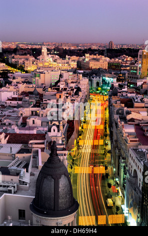 Gran Via street at dusk with Christmas illumination, Madrid, Spain, Europe - Stock Photo