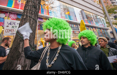 Protest in front of Dylan's Candy Bar in the Upper East Side neighborhood of New York - Stock Photo