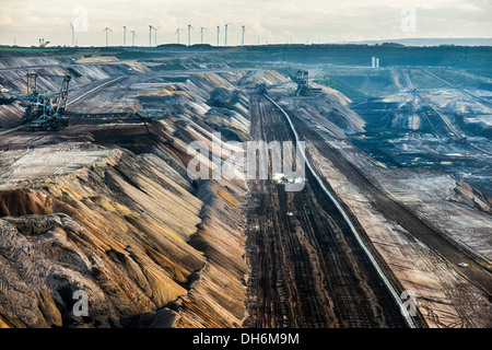 Brown coal opencast mining Garzweiler near Juechen, North Rhine-Westphalia, Germany, Europe - Stock Photo