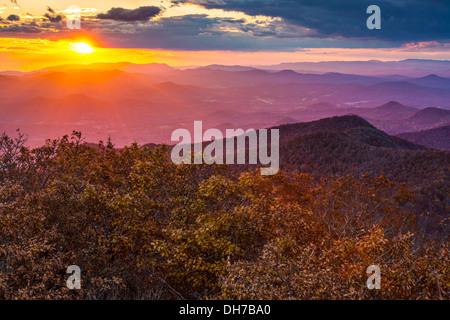 Blue Ridge Mountains at sunset in north Georgia, USA. - Stock Photo
