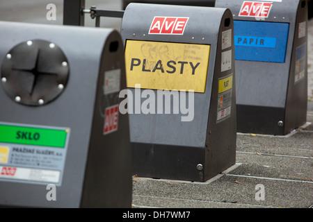 Municipal waste and recycling, Prague Czech Republic - Stock Photo