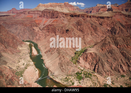 Silver Bridge over the Colorado River from the South Kaibab Trail, Grand Canyon National Park, Arizona. - Stock Photo