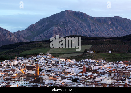 Old town of Antequera at dusk. Andalusia, Spain - Stock Photo