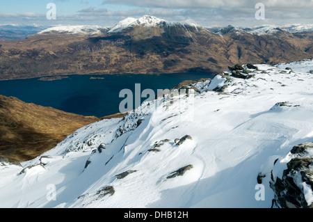 Beinn Sgritheall over Loch Hourn, from Beinn na Caillich, Knoydart, Highland region, Scotland, UK - Stock Photo