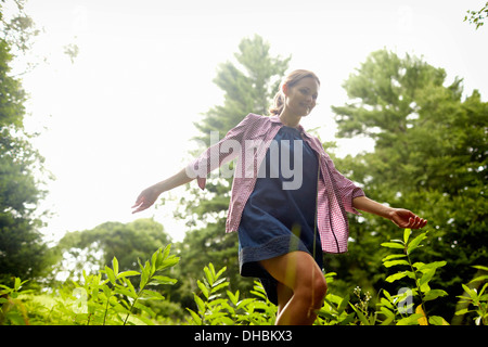 A woman walking through the undergrowth in woodland, with her arms brushing the tops of the wild plants. - Stock Photo
