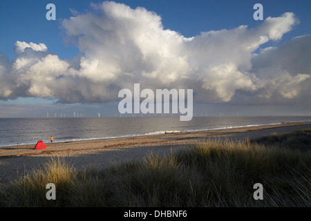 A beautiful cloud over the coast at Caister on Sea, Norfolk, England - Stock Photo