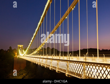 Clifton suspension bridge illuminated at night sunset clifton downs Bristol Avon England UK GB EU Europe - Stock Photo