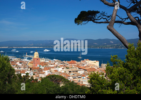 View over old town, Saint-Tropez, Var, Provence-Alpes-Cote d'Azur, France, Mediterranean, Europe - Stock Photo