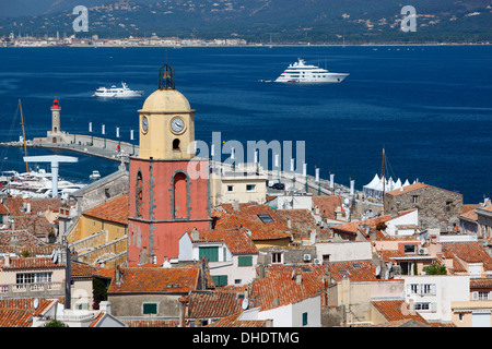 View over old town, Saint-Tropez, Var, Provence-Alpes-Cote d'Azur, Provence, France, Mediterranean, Europe - Stock Photo