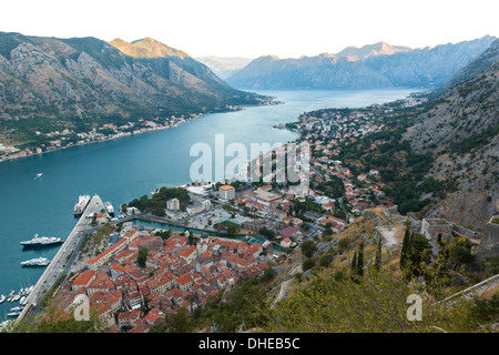 Kotor Old Town, marina and fortifications at dawn with view of the Bay of Kotor, UNESCO World Heritage Site, Montenegro, - Stock Photo