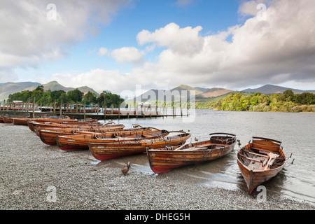 Rowing boats on Derwent Water, Keswick, Lake District National Park, Cumbria, England, United Kingdom, Europe - Stock Photo