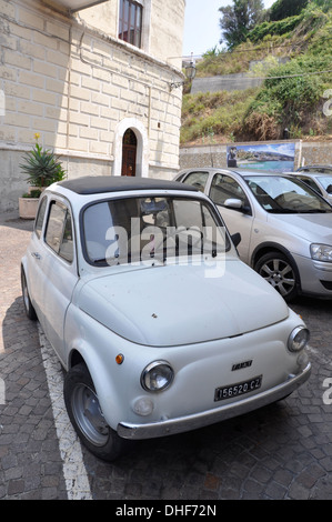 Vintage fiat car in Tropea Calabria, Italy - Stock Photo