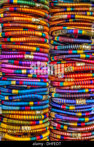 India, Rajasthan, Pushkar, traditional Rajasthani bracelets - Stock Photo