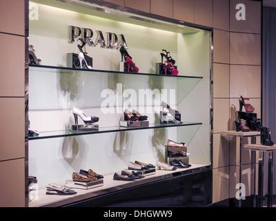 Prada Shoe Display in Bloomingdale's Department Store Interior, NYC - Stock Photo