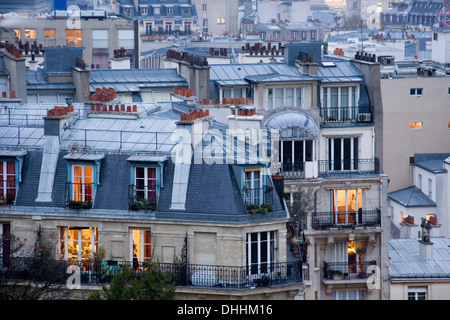 View over the roofs, Paris, Ile-de-France, France - Stock Photo