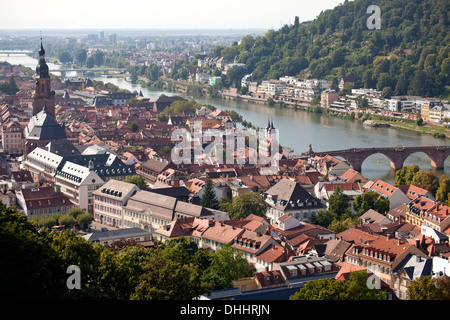 View of the historic centre and the Neckar River, Heidelberg, Baden-Württemberg, Germany - Stock Photo