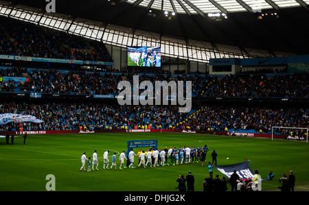 Manchester City v Everton Premiership football match, Etihad Stadium, Manchester, England, United Kingdom. - Stock Photo