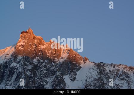 View to Aiguille du Midi, Mont Blanc range, Chamonix, Savoy, France - Stock Photo