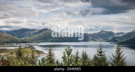 View of mountains & Loch Hourn at Kinloch Hourn in the Highlands of Scotland. - Stock Photo
