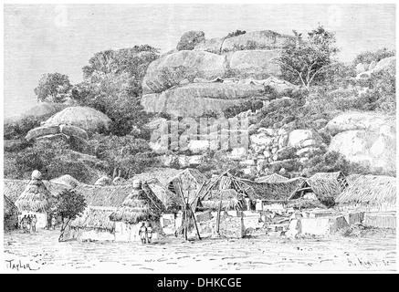 1888 The rock of Abeokuta Yoruba West Africa Nigeria - Stock Photo