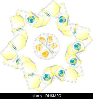 blue yellow gift seamless pattern - Stock Photo