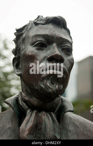 Bust of Jean-Baptiste Pointe DuSable, Founder of Chicago, Michigan Avenue, Downtown Chicago, Illinois, USA - Stock Photo