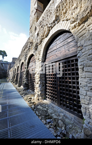 Entrances to the boat houses in Herculaneum where the skeletons of citizens were found during the excavations - Stock Photo