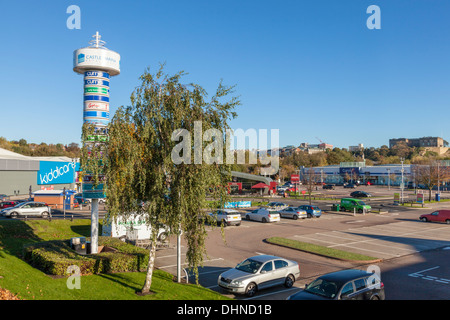 General view over part of an out of town retail park. Castle Marina Retail Park, Nottingham, England, UK - Stock Photo