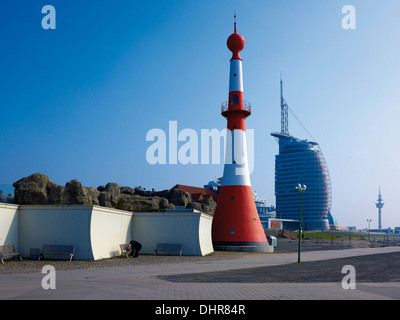 Lighthouse and Atlantic Hotel Sail City, Bremerhaven, Bremen, Germany - Stock Photo