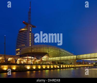Atlantic Hotel Sail City and Klimahaus, Bremerhaven, Bremen, Germany - Stock Photo