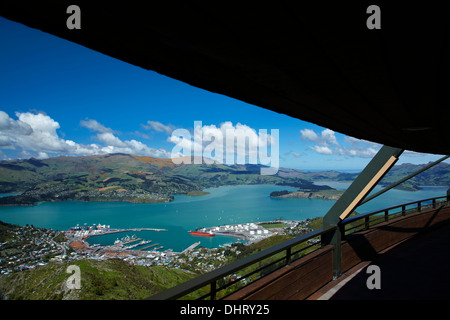 View of Lyttelton Harbour from Christchurch Gondola top station, Mt Cavendish, Port Hills, Christchurch, Canterbury, - Stock Photo