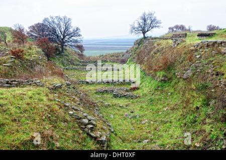 Schliemann trench excavations in Troy Turkey - Stock Photo