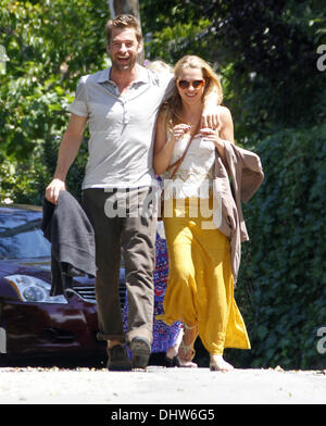 Scott Speedman and Teresa Palmer arrive for a private party at Ali Larter's house in West Hollywood Los Angeles, - Stock Photo