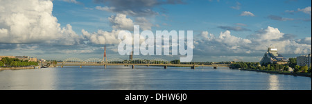 view of a bridge over daugava river in riga latvia - Stock Photo