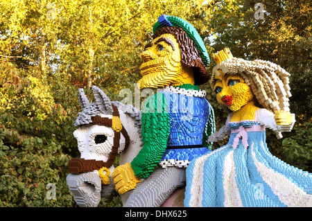 Lego model of man and woman on hoursback at Legoland, Windsor, UK - Stock Photo