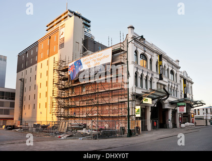 Building undergoing restoration in 2013, following the  earthquakes, Christchurch, New Zealand - Stock Photo