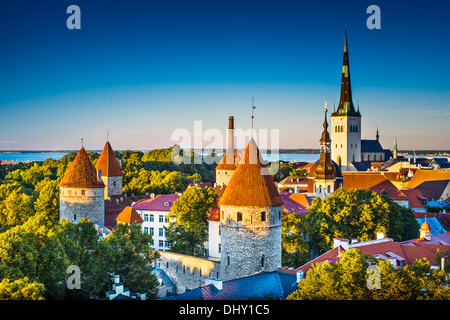 Dawn in Tallinn, Estonia at the old city from Toompea Hill. - Stock Photo