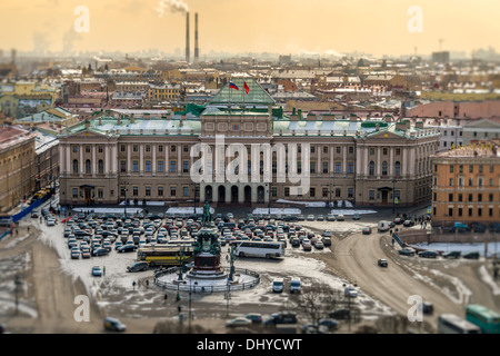 View of Saint Isaac's square, the Mariinsky Palace and the Monument to Nicholas I in St. Petersburg, Russia. - Stock Photo